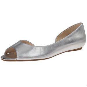 Nine West Bachloret D'Orsay Peep Toe Flat | Silver